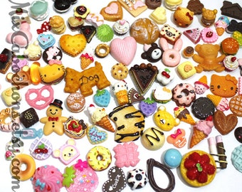 30pcs Mix design assorted fake food kawaii candy chocolate cupcake Miniature Sweets cake desert cabochon deco DIY phone case decoden