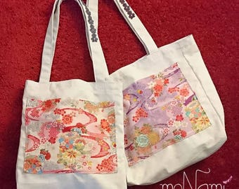 Sakura canvas tote bag (cherry blossom Japanese design bag with outside pockets. )
