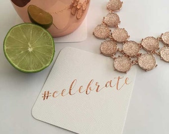 Celebrate Paper Coasters (set of 24), Hostess Gift, Holiday Drink Coasters