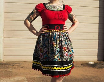 Mexican Inspired Loteria Dirndl Skirt |Loteria Cards|Retro Skirt Gathered 50s Skirt With Pockets Rockabilly Skirt Pin up plus size custom