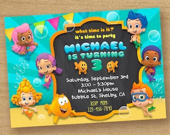 Bubble Guppies Invitation, Bubble Guppies Invite, Bubble Guppies Birthday Card, Bubble Guppies Printable Party, Bubble Guppies Chalkboard