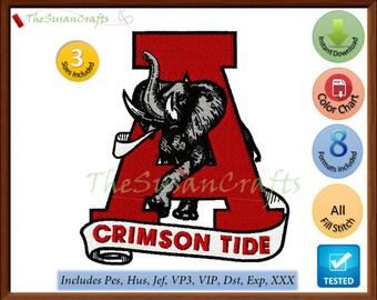 ALABAMA Crimson Tide 4th EMBROIDERY DESIGNS Pes, Hus, Jef, Dst, Exp, Vp3, Xxx, Vip