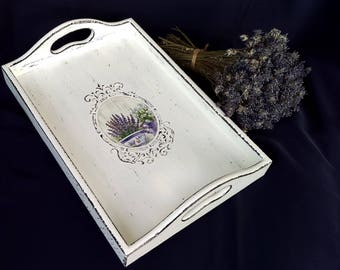 Decoupage Tray Shabby Chic Tray wooden serving tray Vintage Tray Decorative Tray cottage decorative rustic tray shabby furniture lavender