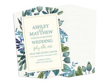 Blue Floals - Boutique Wedding Invitation Card (25 pack)