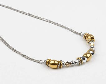 Short necklace, Swarovski Crystal and stainless steel