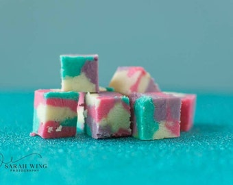 Unicorn cookie dough fudge