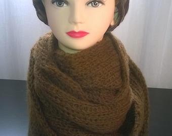 Brown circular acrylic wool scarf