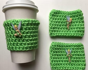 Tinker Bell Inspired Coffee Cozy/Coffee Sleeve