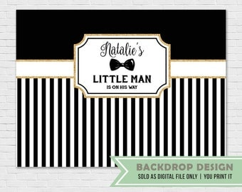 Little Man Black Gold Backdrop Banner // Mustache Bowtie Backdrop Banner