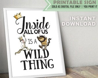 Where The Wild Things Are Party Sign // Poster Sign // Instant Download
