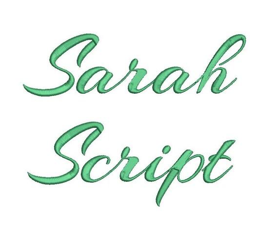 Sarah script embroidery font formats bx dst exp pes jef