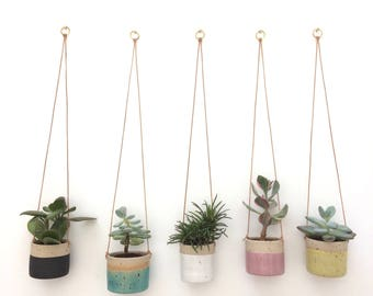 SOLD OUT Black handmade ceramic hanging planter (small)
