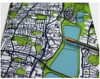 Papercut street map of EN3 Enfield, Ponders End, River Lee   Unique custom handcrafted gift / wall art / not print