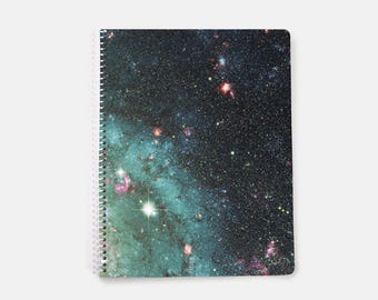 Galaxy Notebook A4, Nebula Notebook, Bullet Journal on Lined Paper, Blue, Space Notebook, Lined Notebook, Spiral Notebook, Large Notebook,