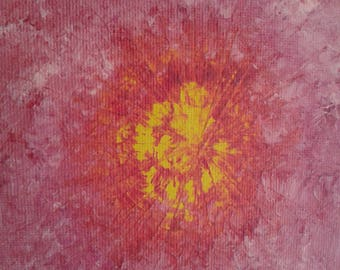 Abstract acrylic painting on canvas, yellow light emerging through orange, reds and pinks, handpainted wall art.