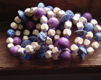 Purple and white bohemian bracelet