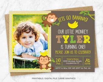Monkey Birthday Invitation, Little Monkey Birthday Invitation, First Birthday Invitation, Monkey Invite, Jungle, Bananas, Printable File