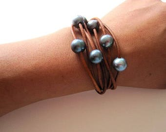 Leather and Freshwater Pearl Wrap Bracelet, 7 Strand Leather Bracelet, Pearls and Leather Wrap, Leather Wrap Bracelet, Leather Pearl Jewelry