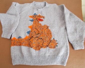 "Hand knitted childrens jumper Dinosaur motif, chest 34"" - 36"""