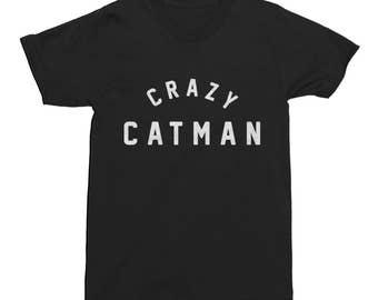 Cat T-Shirt Crazy Catman T-Shirt Funny Mens Cotton T-Shirt Cool Tee Gift Pet Kitten Cat Man Funny Men's T-Shirt