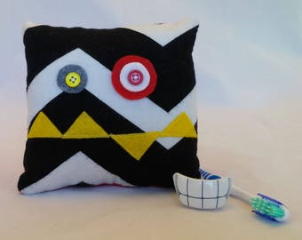 Monster Tooth Fairy Pillow - black chevron, yellow teeth, red back