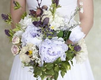 Lavender Bouquet, Purple Bouquet, Peony Bouquet, Wedding Flowers, Lilac Wedding Bouquet, Silk Bouquet, Silk Bridal Bouquet, Boho Bouquet,