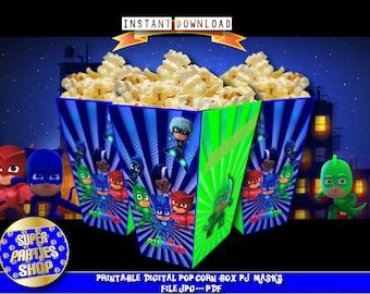Pj masks Digital Printable Party Popcorn box, pj masks popcorn box ,pj mask Party, Pj masks Birthday,pj masks , pj masks invita, pj masks