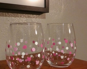 Set of Two Mickey Silhouette stemless wine glass in pink