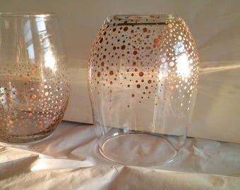 Set of two Rose Gold Stemless Wine Glass