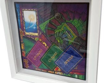 Harry Potter and the Philosopher's Stone Trivia Board Game Framed Upcycled Art - House Slytherin