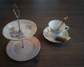 2 Tier China Plate Cake Stand