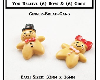 Ginger Bread (12) Flatback Resin Ginger Bread (6) Boys And (6) Girls Resin Flatbacks Flat Back Scrapbooking Embellishments size 32mm x 26mm