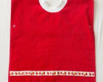 Personalized, Strawberry Baby or Toddler Towel Bib, Handmade Girl Baby Shower Gift, Pullover Full Coverage Bib, Toddler Art Smock