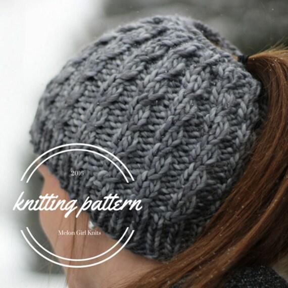 Knitting Pattern Messy Bun Beanie Pattern By