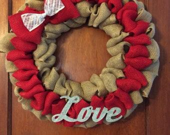 "18"" Burlap Valentine's Day Wreath"