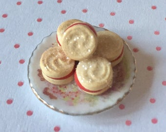 Doll house miniature polymer clay food, teaparty cake. viennese whirl biscuits  inch scale.
