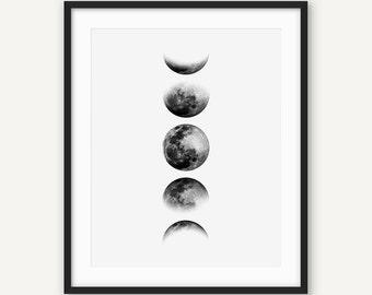 Moon Phases Print, Moon Print, Moon Poster, La Lune Print, Luna Print, Scandinavian Print, Moon Wall Art, Affiche Scandinave, Nordic Print