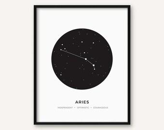 Aries Constellation Print, Printable Zodiac Sign Wall Art, Minimalist Modern Geometric Poster, Black and White Decour, Astrology, Stars
