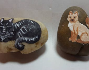 Pretty Kitty Trio:  3 cat pet rocks