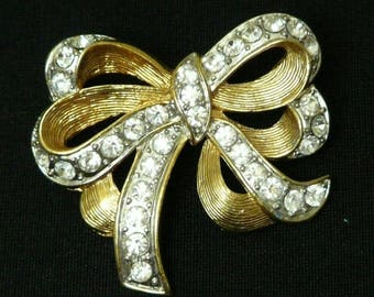 Vintage 1980s Diamonte and Gold Bow Brooch