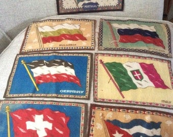 7 vintage Tobacco Flannel Flags Various Countries premiums in Tobacco