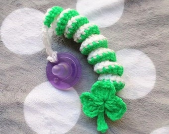 Shamrock Pacifier Clip, Baby Accessory, Soothie Clip, St. Patrick's Accessory, Crochet Pacifier Clip