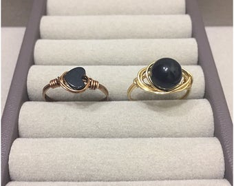 Heart Ring, Black Heart Ring, Black Round Stone Ring, Wire Wrapped Rings, Black Beads, Gold Wire Ring, Antique Brass Ring, Solitaire Ring
