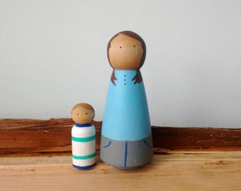 Custom Peg Doll Family, of two, Peg Doll, Custom Peg Family, Family Peg Doll, Peg Dolls, Peg People, Wooden Peg Dolls, lbgt peg doll