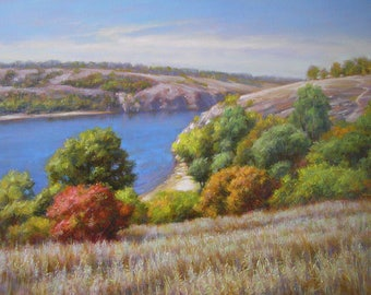 Ukrainian ladspace painting, Original oil painting signed by the artist, Oil painting on canvas, original wall  art of autumn nature lake