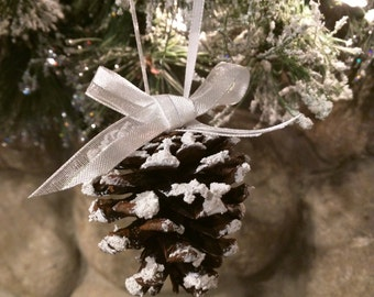 Snowy White Pinecone Ornament