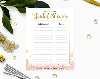 Pink and gold Floral Bridal Shower Gifts List Personalized Template-Bridal Shower Gifts Received-DIY Printable  List of Received Gifts