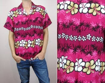 vintage Hawaiian palm floral print mens shirt Medium