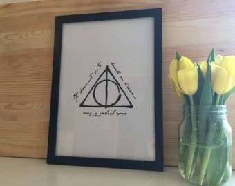 Harry Potter Inspired Deathly Hallows Black And White Typography Print