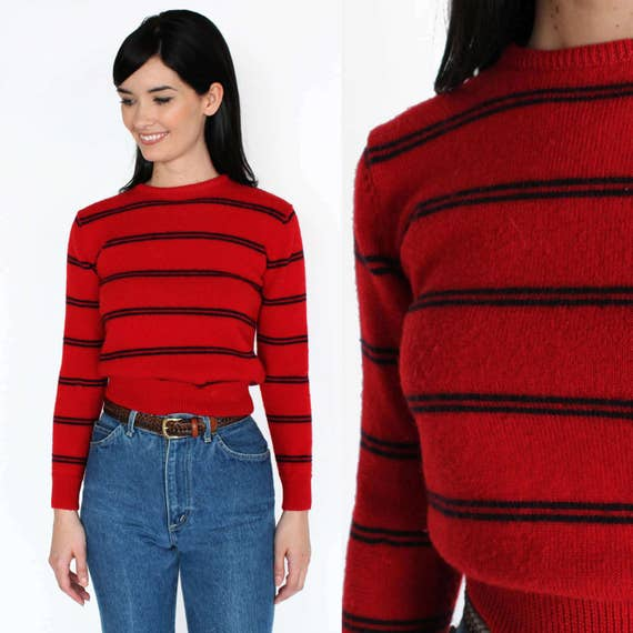 Red and Navy Striped Wool Sweater XS/S